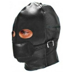 Leather Gimp Mask Hood with Eyes Open