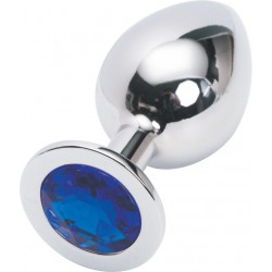 Rosebud Silver ButtPlug with Blue Crystal - Large