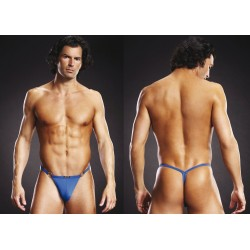 BLUE LINE Microfiber V-String + Metal Rings blau L/XL